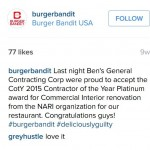 Burger Bandit Endorsement Ben's General Contracting